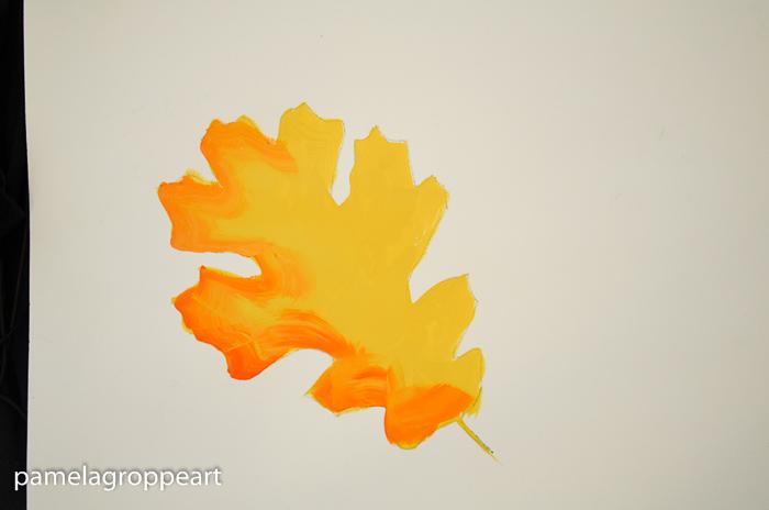 half of oak leaf shaded with orange, How to Paint Oak Leaves