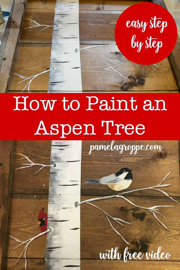 Aspen tree painting in acrylics with lettering, How to Paint an Aspen tree