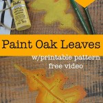 Oak leaves painted on live edge board with text overlay, How to Paint Fall Oak Leaves, Pamela Groppe Art