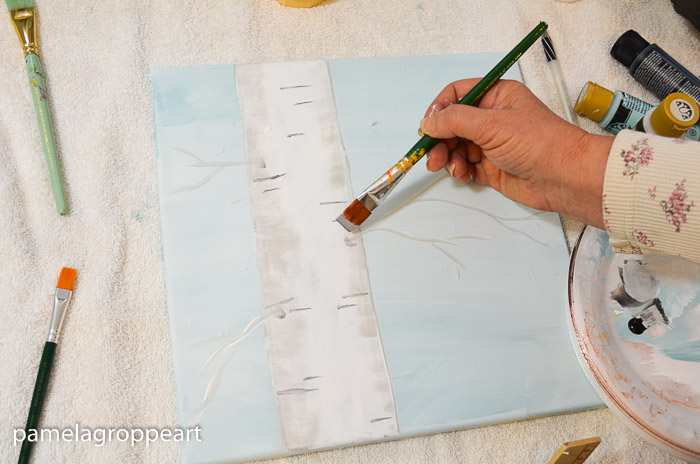 Paint the dimples around where the branches emerge, How to Paint an Aspen Tree