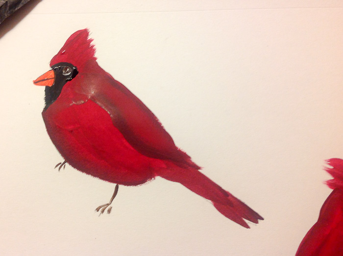How to paint a cardinal in acrylics