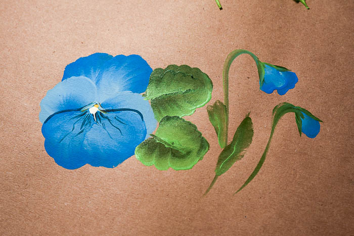 Completed pansy painting tutorial, How to paint a pansy lesson