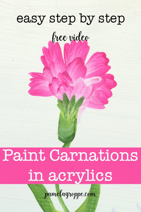 Pink carnation hand pained with text overlay