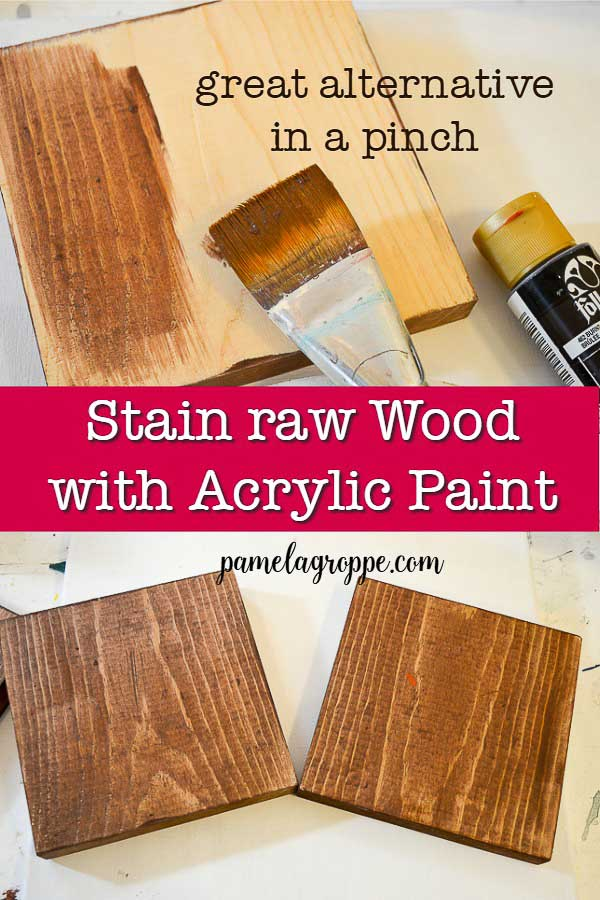 Wood boards being stained with acrylic paint with text, pamelagroppe.com