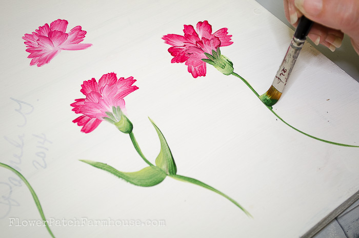 Painting the carnation stem, pamela groppe art