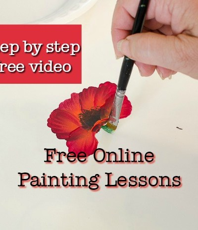 painting a poppy demo with text overlay, pamelagroppe.com