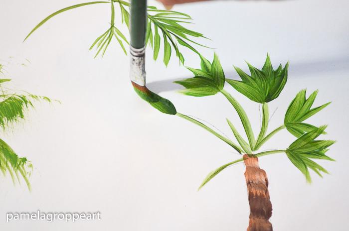 painting a fan palm, pamela groppe art