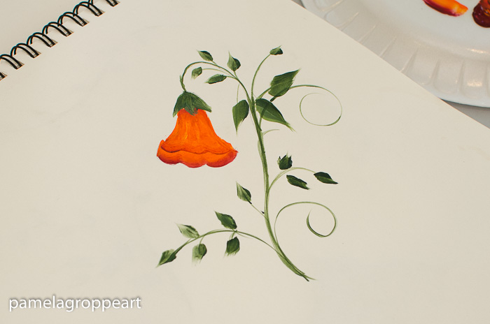 Painted trumpet vine with leaves and stem, pamelagroppe.com