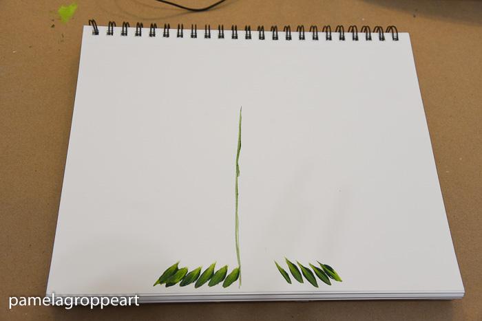 lower fir tree branches painted, pamela groppe art