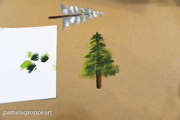 Painted evergreen/fir tree in acrylics, pamela groppe art