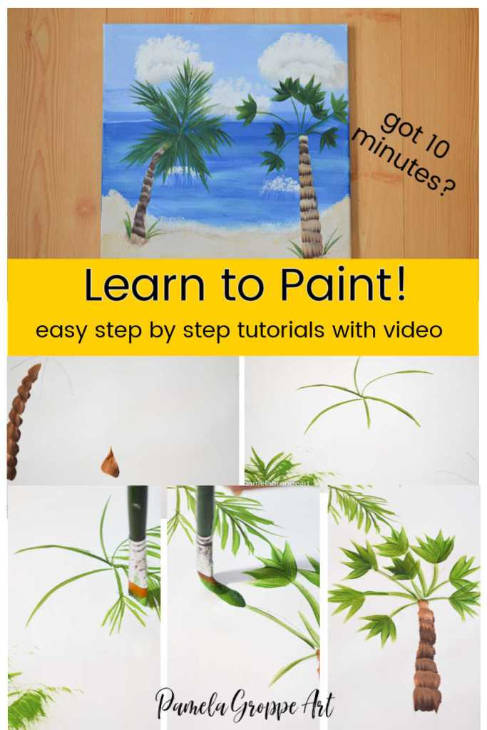 collage of painting palm trees steps