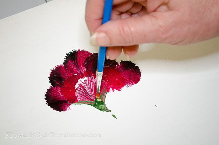 Painting the calyx and stem on carnation, pamelagroppe.com