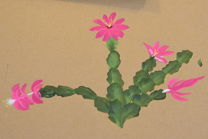 hand painted Christmas Cactus on brown paper, how to paint a christmas cactus, Pamela Groppe Art