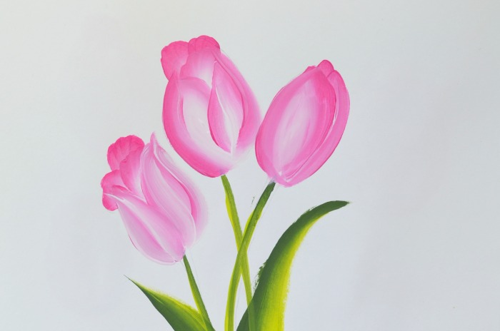 Paint Pink Tulips Fast and Easy