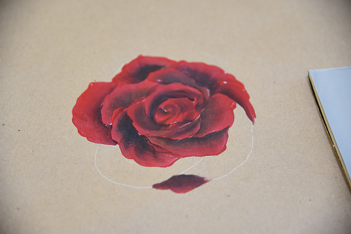 Beginning to Paint the outer rose petals painting a red rose, pamelagroppe.com