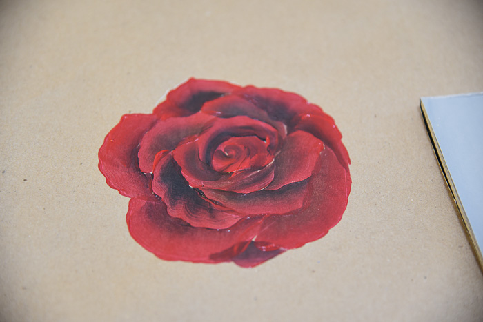 A red rose painting in acrylics on brown craft paper, How to Paint a Red Rose, pamela groppe art
