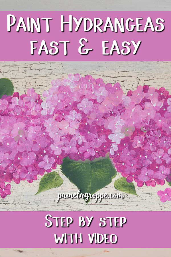 hand painted pink hydrangeas with text overlay, Paint Hydrangeas fast and easy, pamela groppe art