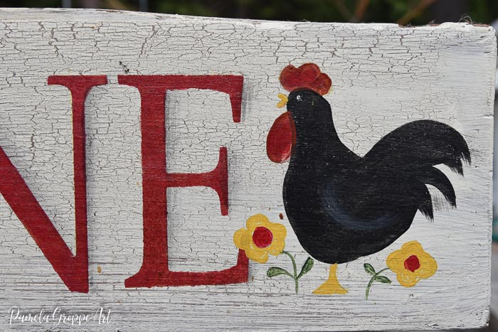 hand painted rooster on diy sign, Pamela Groppe Art