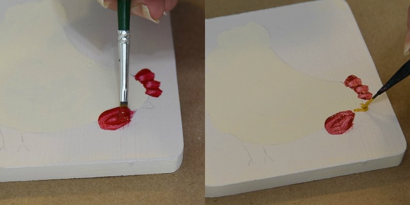 painting chicken wattle and combs with red paint, pamela groppe art