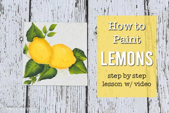 lemon painting with text overlay, how to paint lemons step by step lesson w/video