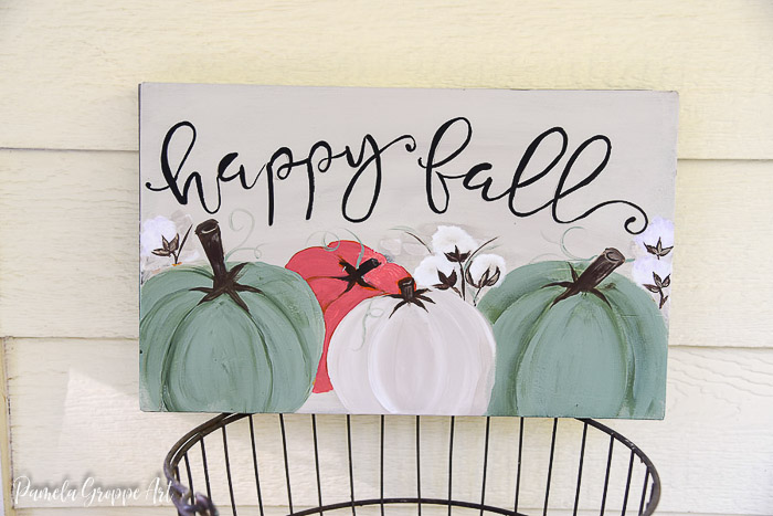 happy fall diy sign painted with pumpkins and cotton bolls
