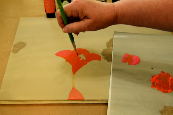Paint the back pumpkin with Fire coral and Pure Orange
