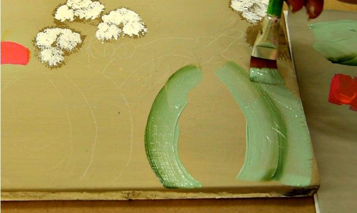 begin painting green pumpkin