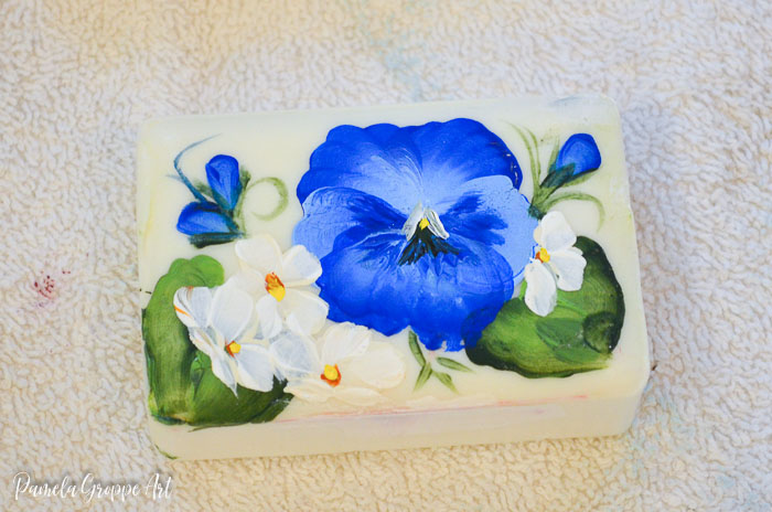 paint pansy flowers on soap