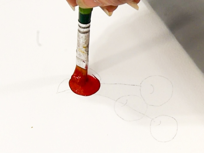 painting circle to begin painting a cherry