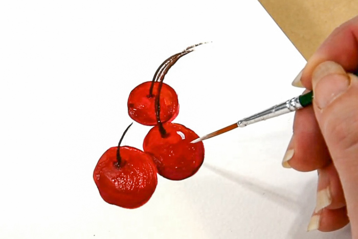 Adding a spark of light to cherry painting, pamela groppe art, how to paint cherries