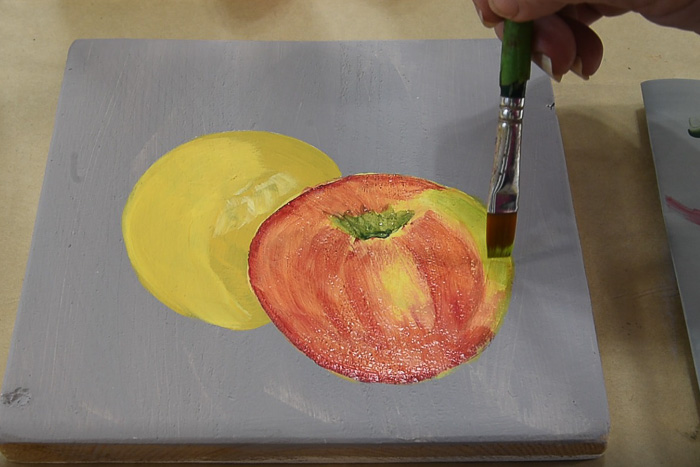 paint shading on apple, pamela groppe art