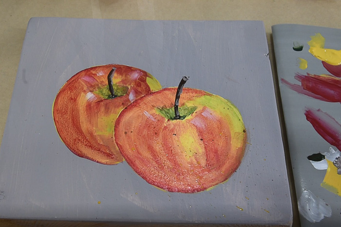 apples painted in acrylics, end of lesson, pamela groppe art