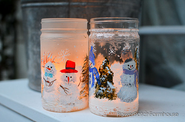 Snowmen painted on frosted glass jar, how to frost glass, pamela groppe art