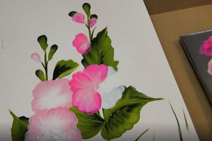 third petal on painting hollyhocks