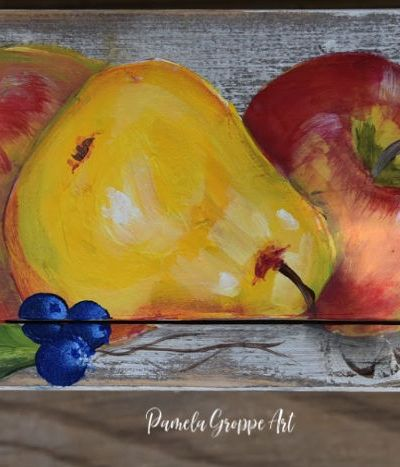 Blueberries painted in acrylics with other fruit, Pamela Groppe Art