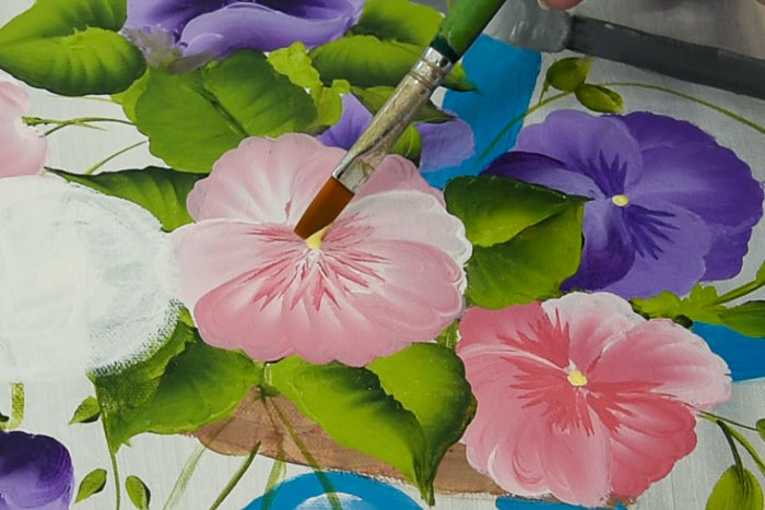 close up of painting a pansy