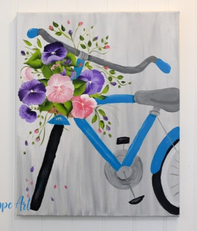 Spring bicycle painting with pansies