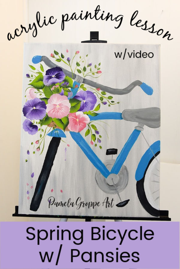 blue bicycle acrylic painting with pansies in the basket, text overlay, Paint a Spring Bicycle in Acrylics tutorial