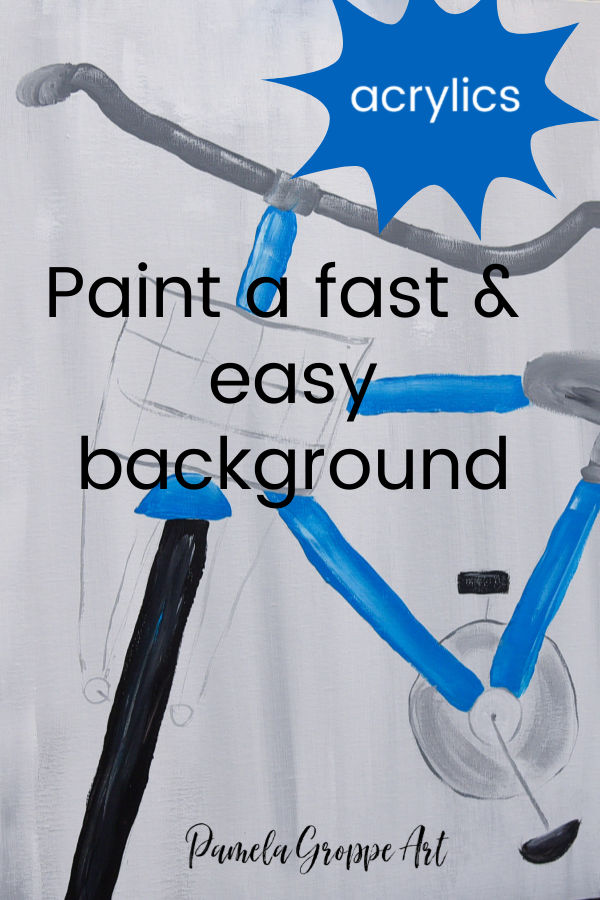 Blue bicycle painting with Text overlay, Paint a fast and easy background in acrylics. Pamela Groppe Art