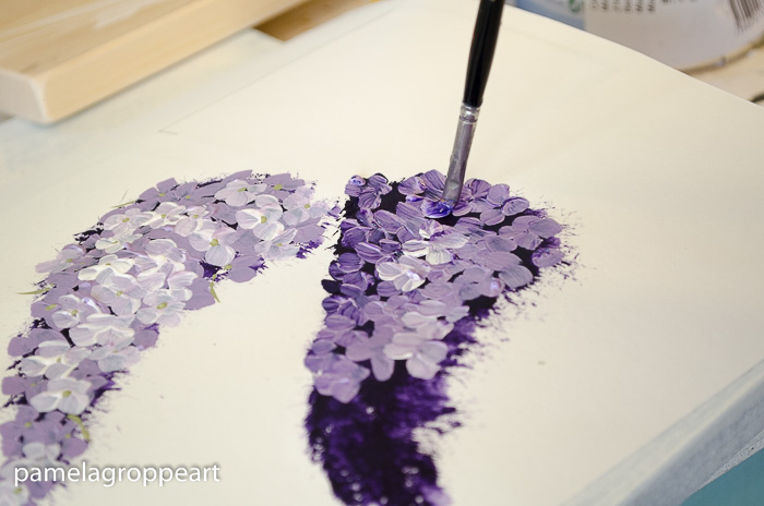 Layering petals, how to paint lilacs in acrylics