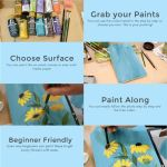 infographic with steps of painting a black eye susan in acrylics