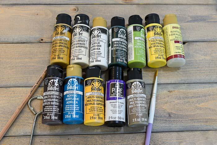 Acrylic paint for Paint Sunflowers, Mason Jar and a Pumpkin painting tutorial