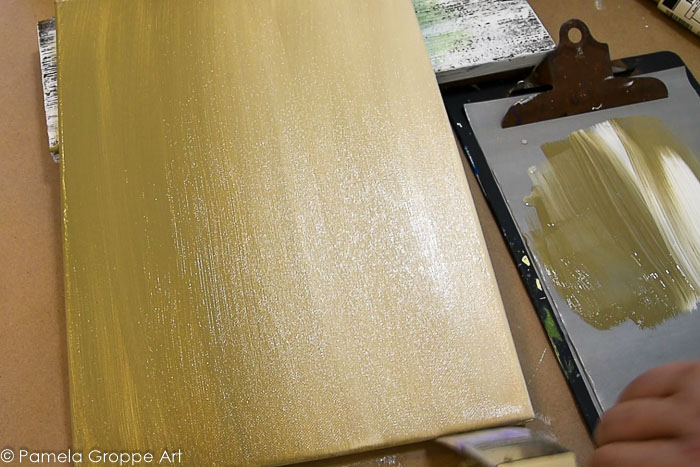 Background underpainting for Sunflower mason jar and pumpkin painting tutorial