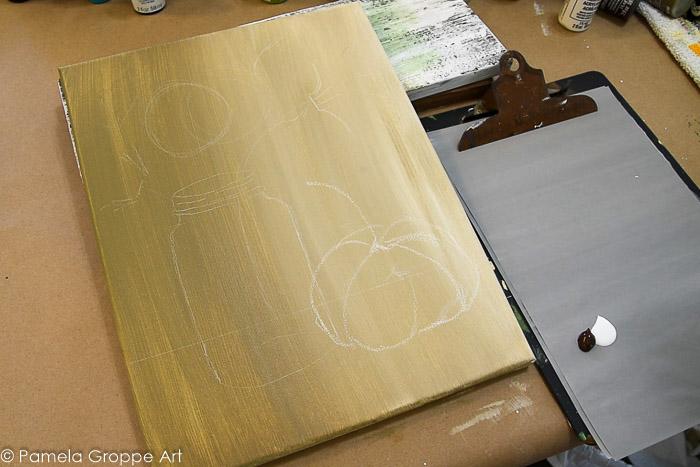 outline of sunflower, mason jar and pumpkin painting tutorial