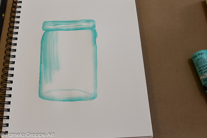 fill in body of jar with transparent paint