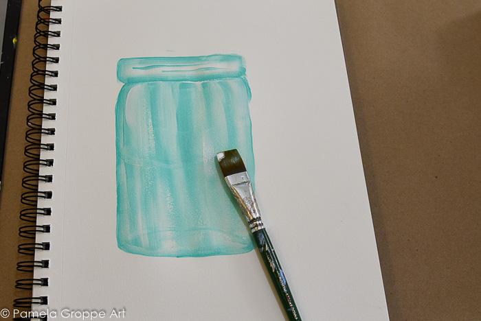 create highlights with wicker white on corner of brush