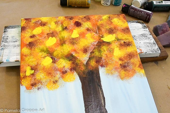 paint a fall tree with a paint brush