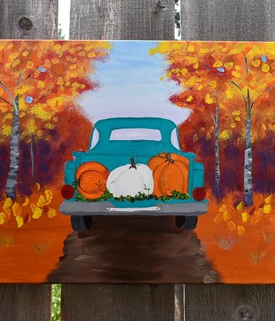 paint a Fall truck with pumpkins on canvas, step by step painting tutorial