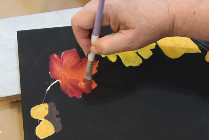 Paint maple leaves with Autumn Leaves and Berry Wine