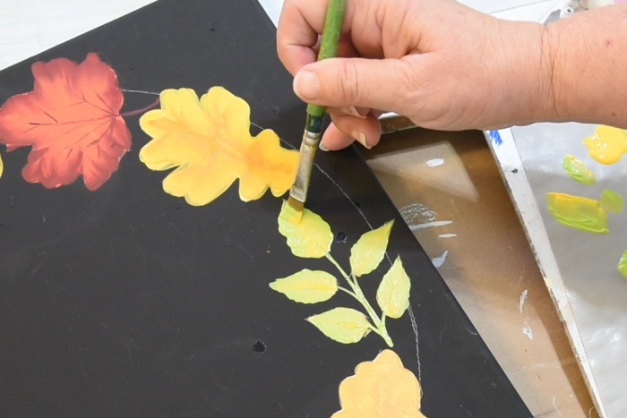 Paint leaf spray with citrus green and school bus yellow